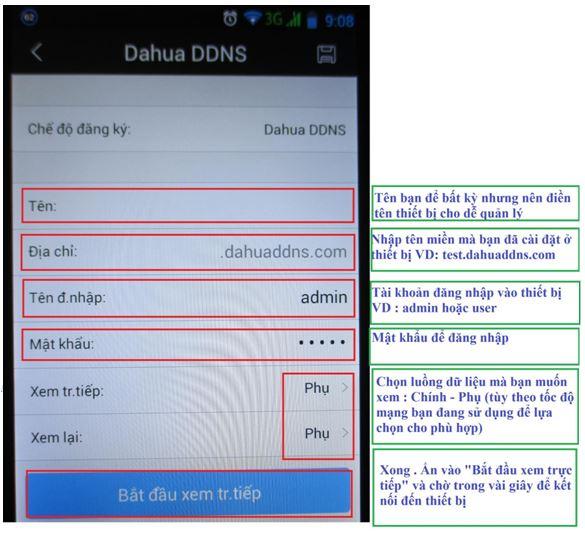 Xem camera Dahua trên điện thoại Android bằng tên miền miễn phí